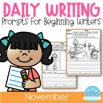 November Daily Writing Journal Prompts for Beginning Writers