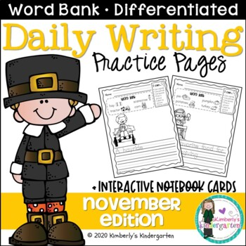 Daily Writing Journal Pages for Beginning Writers: Novembe