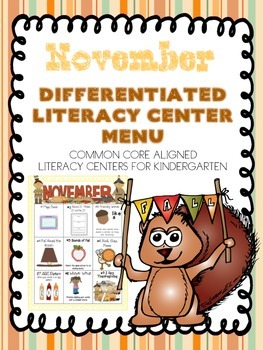 November Differentiated Literacy Center Word Work Menu (Co