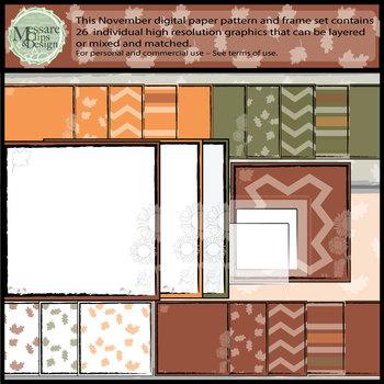 November Digital Printable Patterns and Frames {Messare Cl