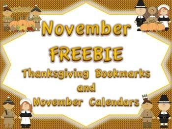 November FREEBIE: Thanksgiving Bookmarks and November Calendar