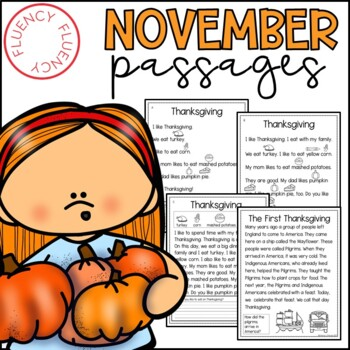 November Fluency Passages (Differentiated)