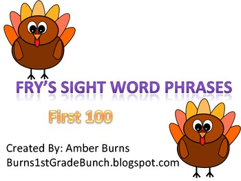 Sight Word Phrases: First 100 for November