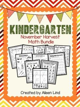 November Harvest Math Packet for Kindergarten