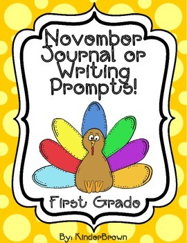 November Journal or Writing Prompts for 1st Grade or Highe