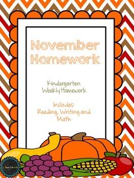 November Kindergarten Homework