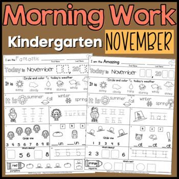Morning Work:  Kindergarten November Packet (Fall Differen