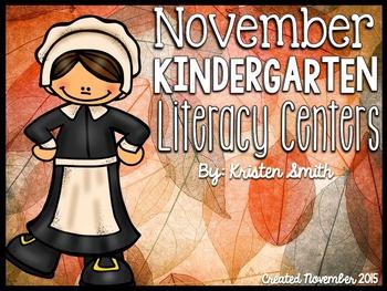 November Literacy Centers for Kindergarteners