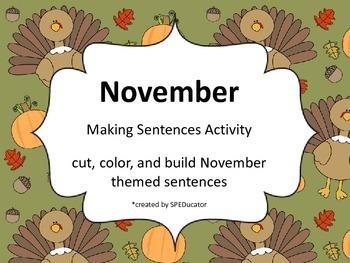 November Making Sentences Activity