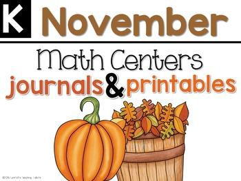 November Math Centers, Journals, and Printables Kindergarten