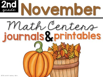 November Math Centers, Journals, and Printables Second Grade