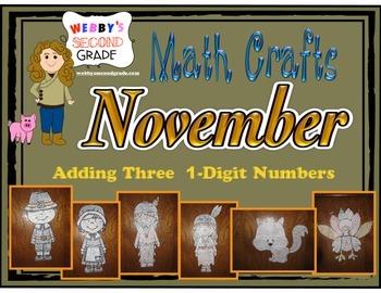 November Math Crafts Adding 3   1-Digit Numbers