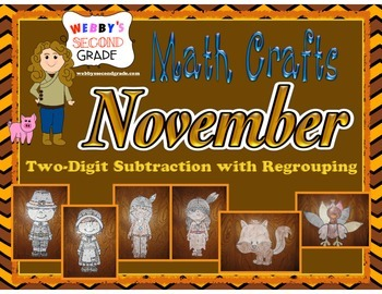 November Math Crafts Subtracting Two-Digit Numbers with Re