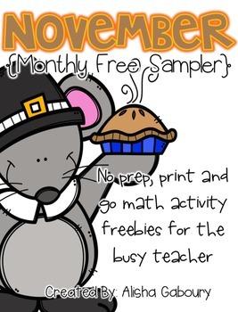 November No Prep Printables [Free Sampler]
