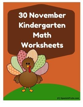 November Math Worksheets & Centers for Kindergarten (English)