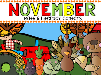 November Math and Literacy Centers for Kindergarten {CCSS}