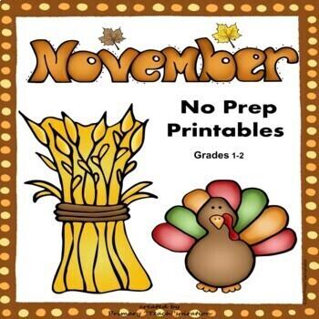 November Math and Literacy NO PREP Fall Printables for Com