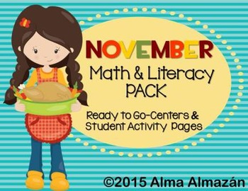 November Math and Literacy Pack- UPDATED