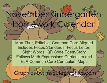 November Mon.-Thur. Editable Common Core Kindergarten 4 We