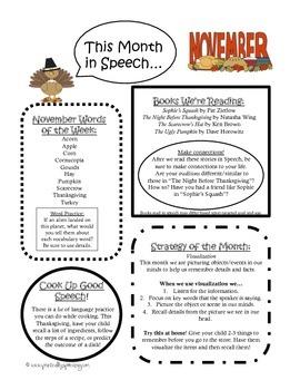 November Monthly Speech Newsletter