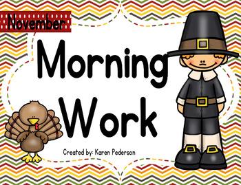 November Math and ELA Morning Work No Prep 2nd Grade
