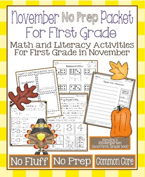 November No Prep Math and Literacy Packet for First Grade