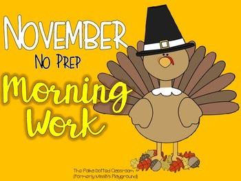 November No Prep Morning Work