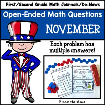 November Open-Ended Math Questions for Journals or Do-Nows