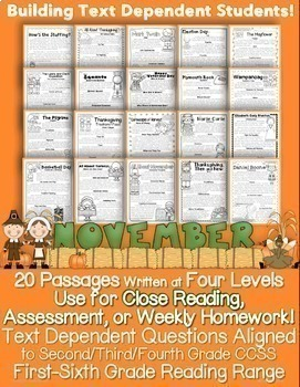 November Passages: Use For Close Reading or Homework *Alig