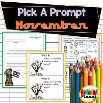 November Pick a Prompt!  Writing Prompts with Choice!