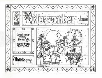 November Picture (with saying) to color