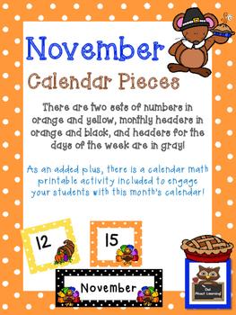 November Polka Dot Calendar Set