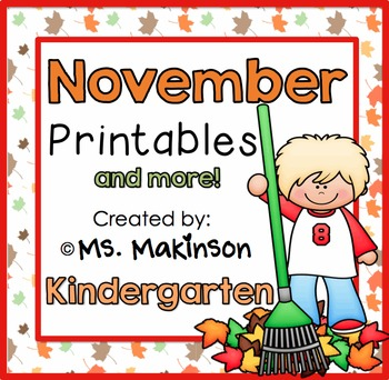 November Printables - Kindergarten Literacy and Math