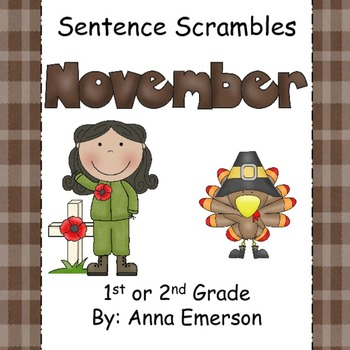 November Sentence Scrambles: Kindergarten, First, and Seco