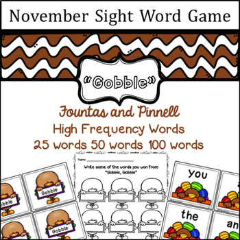 November Sight Word game - Fountas and Pinnell High Freque