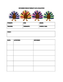 November Speech Therapy Data Collection Sheet