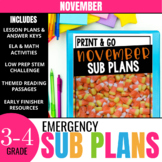 No Prep November Sub Plans for 3rd Grade & 4th Grade