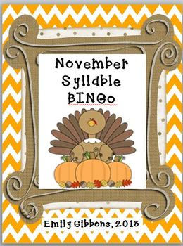 November Syllable BINGO