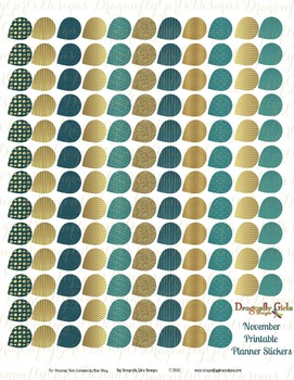November Teal and Gold 139 Small Teardrops Printable Plann