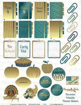 November Teal and Gold School and Holiday Printable Planne