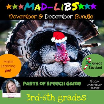 November Thanksgiving December Christmas Mad-Lib Bundle {P