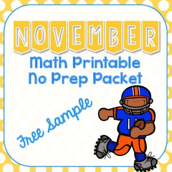 November & Thanksgiving Math Printable Preview Freebie