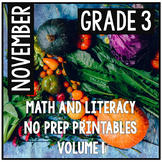 November Thanksgiving Third Grade Math and Literacy NO PRE