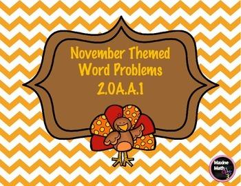November Themed Word Problems 2.OA.A.1