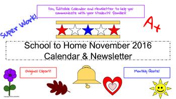 November Traditional Calendar and Newsletter