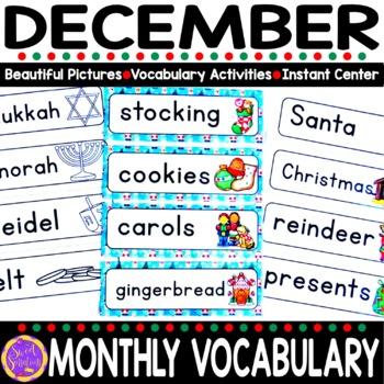 December Vocabulary Words (Christmas, Kwanzaa, Hanukkah)