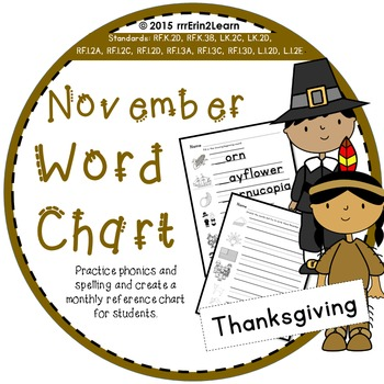 November Word Reference Phonics and Spelling Lesson