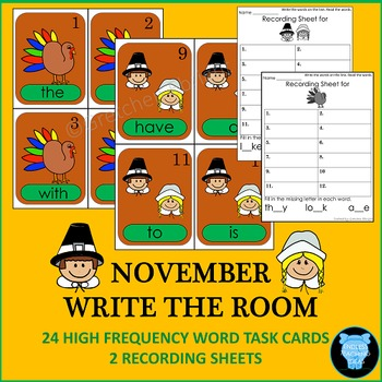 November Write the Room: 24 High Frequency Words-Thanksgiv