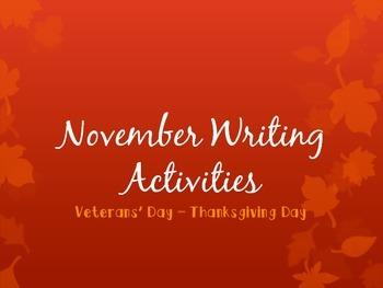 November Writing Activities PPT