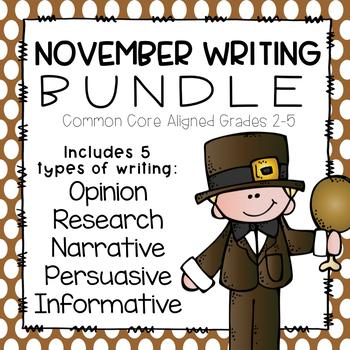 November Writing Bundle- Common Core Aligned
